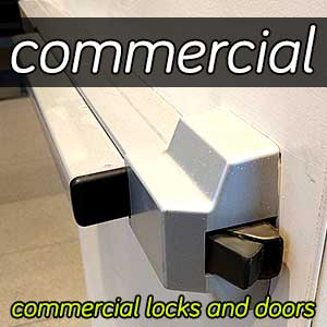 Commercial steel door with a push bar