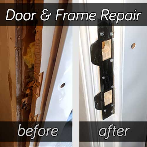 Residential door break-in repair, brfore and after