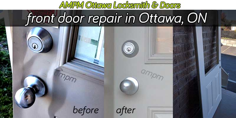 A broken front door repair project