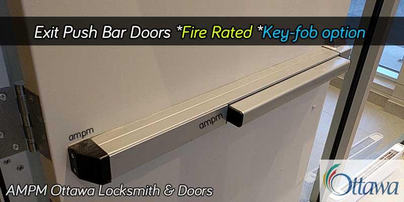 A push bar fire rated aluminum door