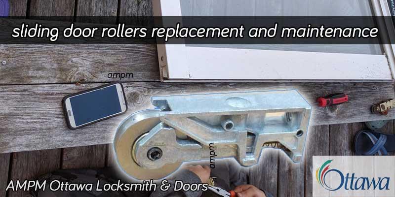 Rollers of a sliding patio door