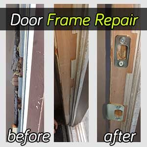 Broken door frame repair project - before and after
